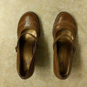 Mary Jane style light brown heels